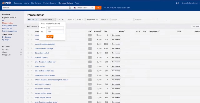 công cụ tìm kiếm keyword Ahrefs có chức năng tùy chỉnh search volumes