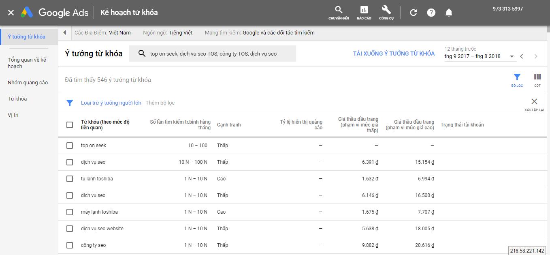 """""""Mục tìm từ khóa"""" sẽ giúp bạn thấy được những từ khóa mà Google được trả để quáng cáo cũng như đưa ra những ý tưởng từ khóa"""