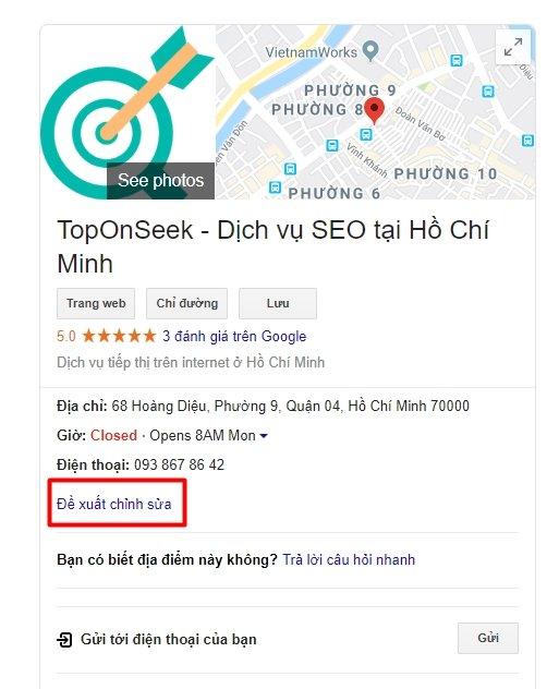 de xuat chinh sua trên Google My Business