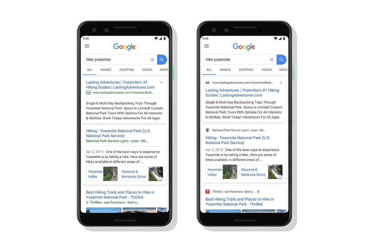 giao diện tìm kiếm mới của google