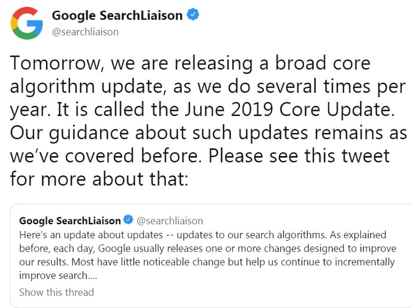 Google cập nhật thuật toán June 2019 Core update (6/2019)
