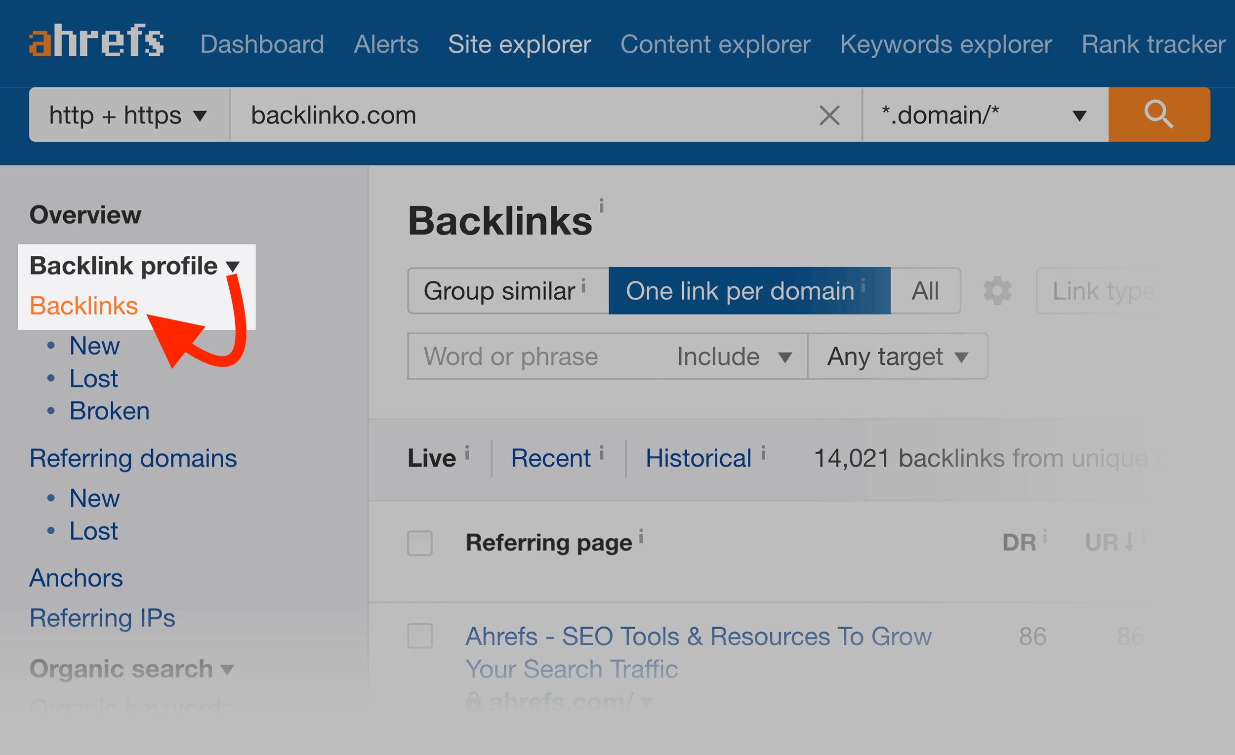 Ahrefs – Backlink profile – Backlinks