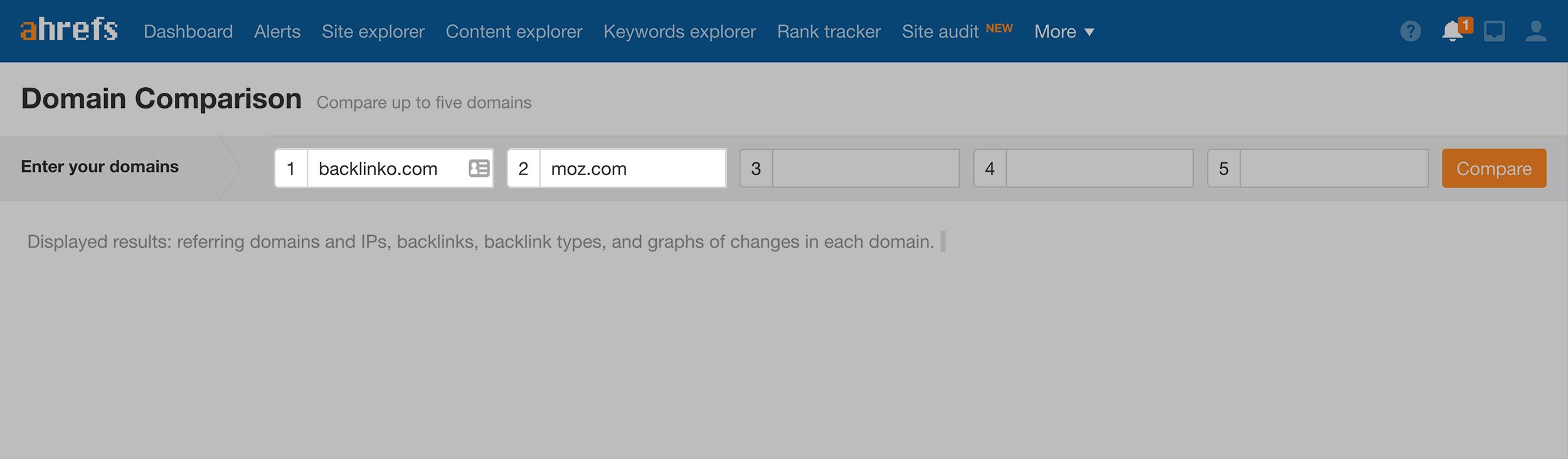 Ahrefs – Domain comparison
