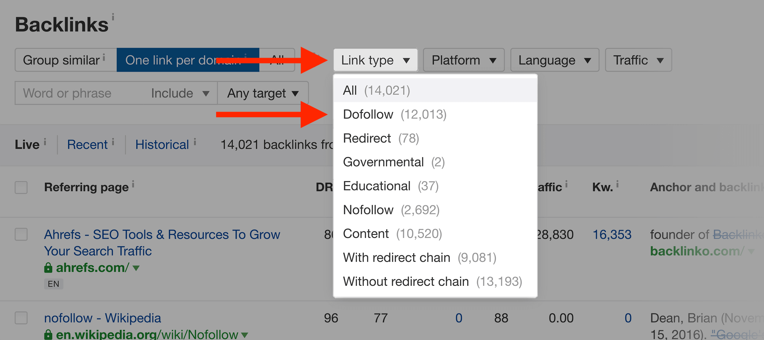 Ahrefs – Select Dofollow links only