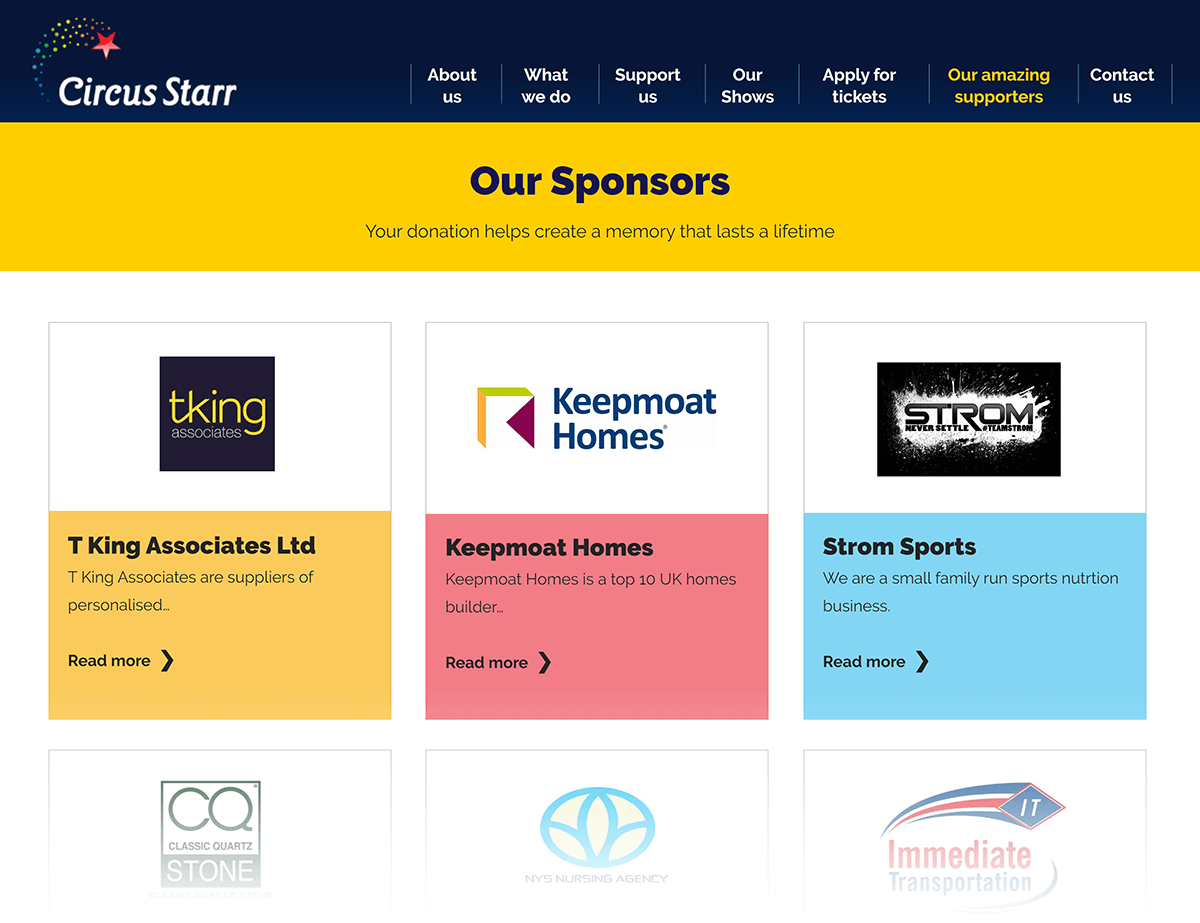 Circus Starr sponsors page