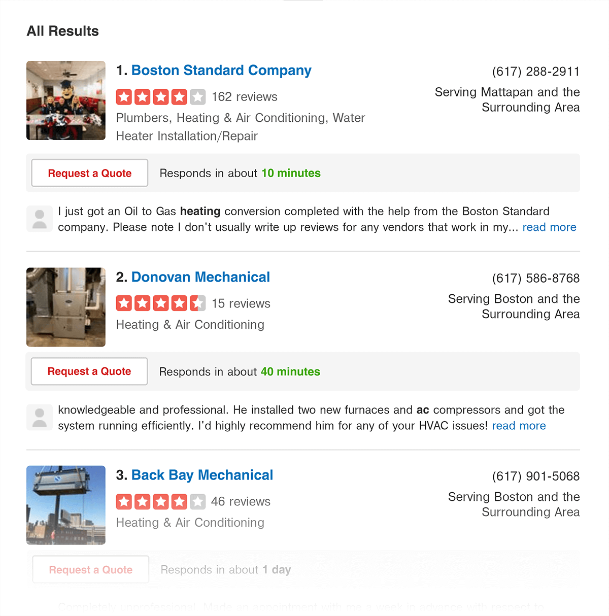 Yelp results for HVAC near Boston