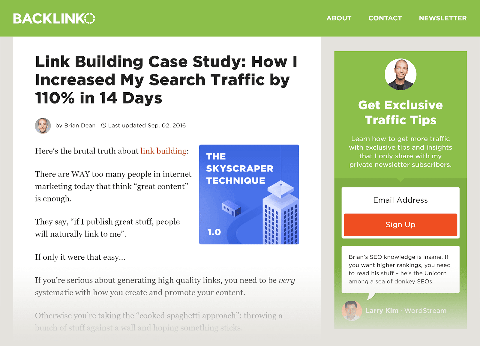 SEO content - Backlinko - Link Building Case Study