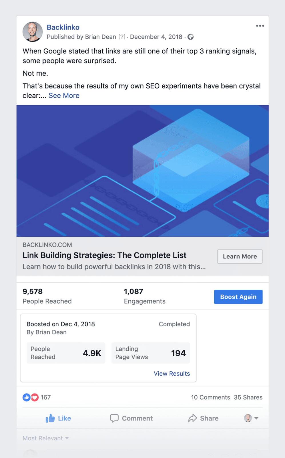 SEO content - Facebook