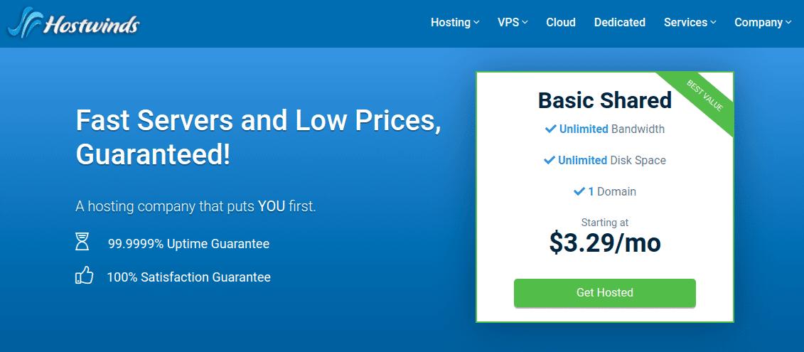 Hostwinds - Cung cấp hosting giá rẻ