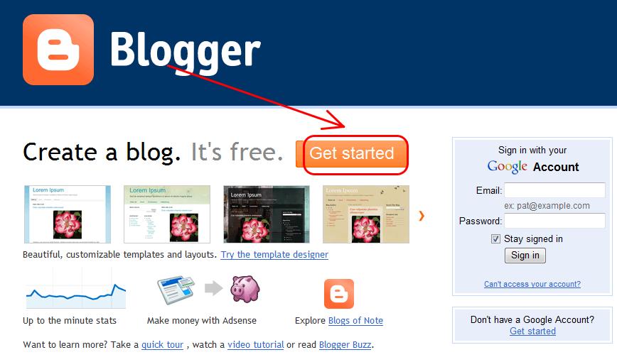 Tạo Blog trên Blogger