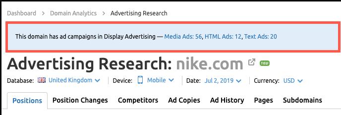 Advertising Research - tính năng SEMrush
