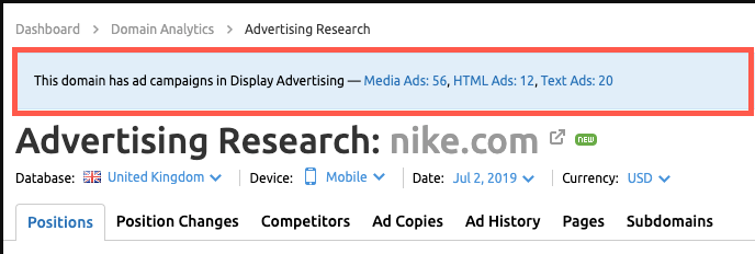 Advertising Research - tính năng SEMrush