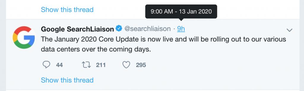 Google Update Tháng 01 2020