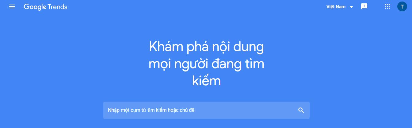 Google trends - tìm từ khóa