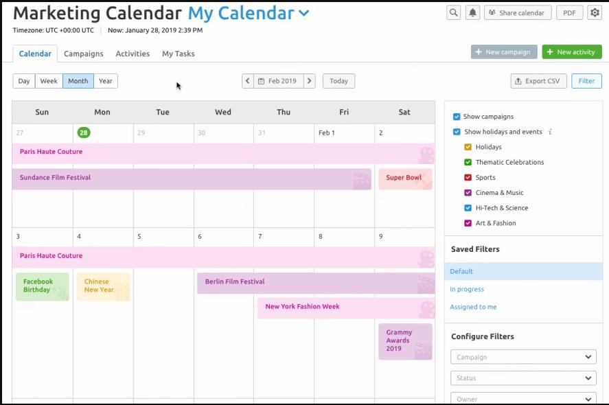 Lên lịch marketing quản lý thời gian hiệu quả trong tính năng SEMrush