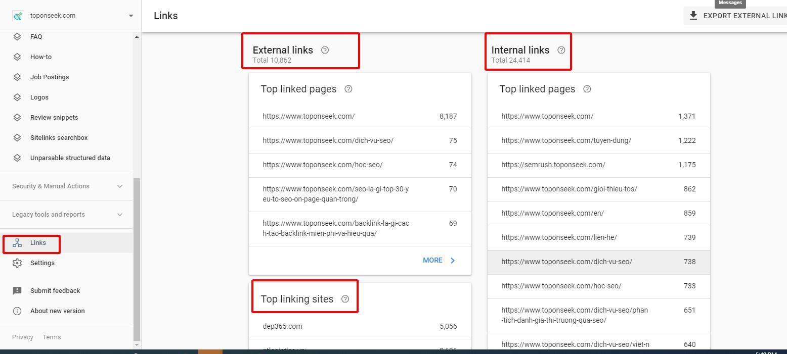 Báo cáo liên kết (Links) trên Google Webmaster Tool