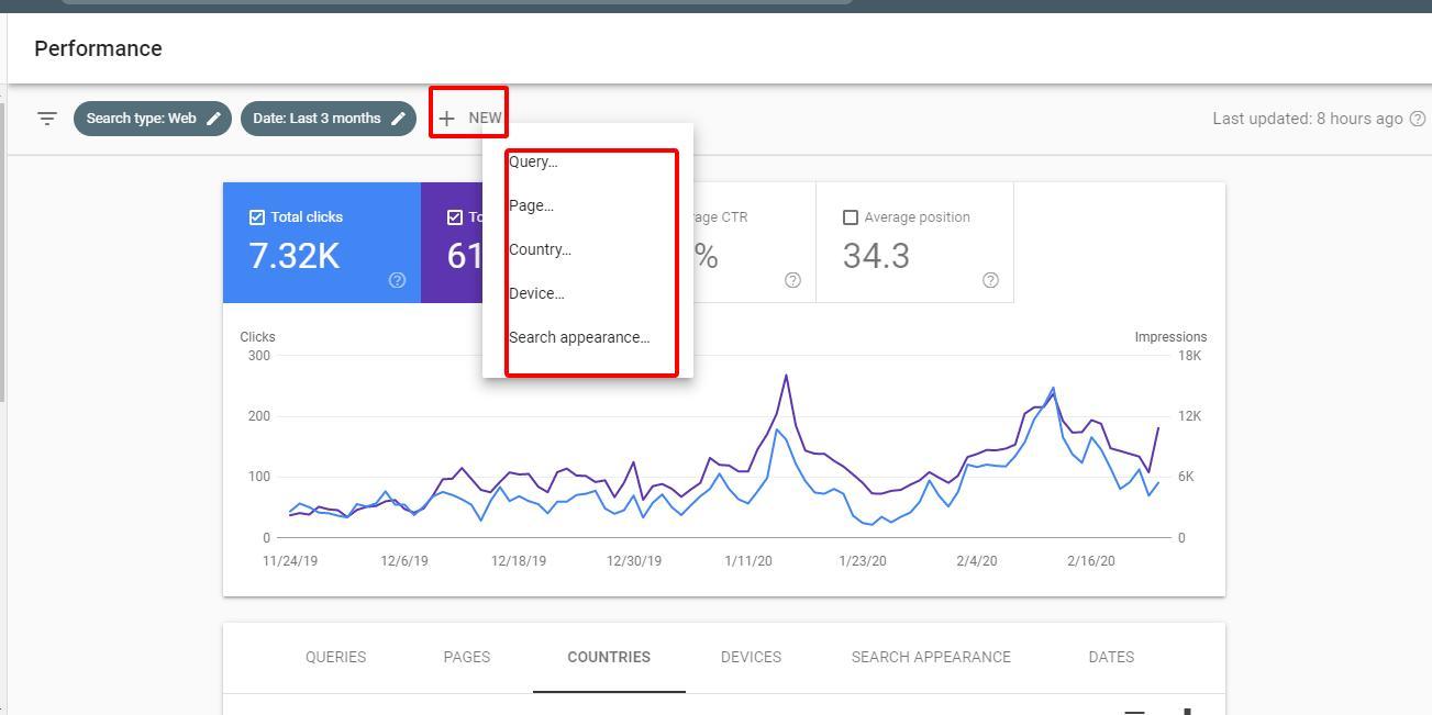 Bộ lọc số liệu Google Search Console