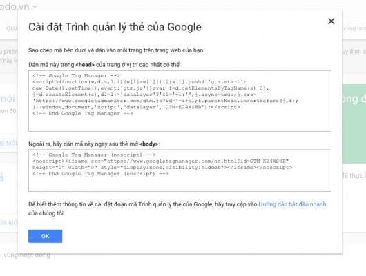 Sao chép mã code GTM