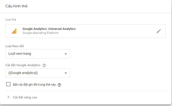 Cấu hình thẻ Google Analytics trong Google Tag Manager