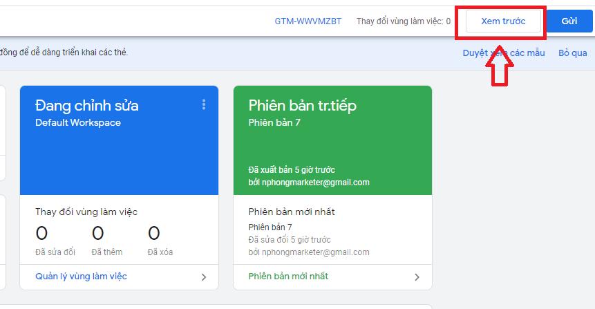 Cách xem chế độ xem trước trong Google Tag Manager
