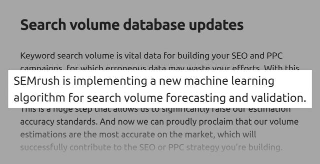 công cụ nghiên cứu từ khóa SEMrush sử dụng kết hợp dữ liệu từ GKP và dự báo AI