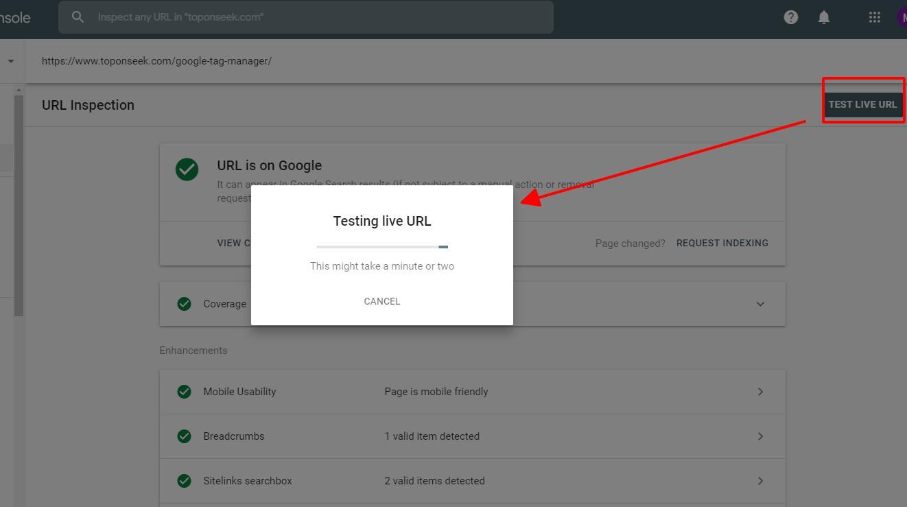 Công cụ kiểm tra url đang hoạt động  của Google Webmaster Tool