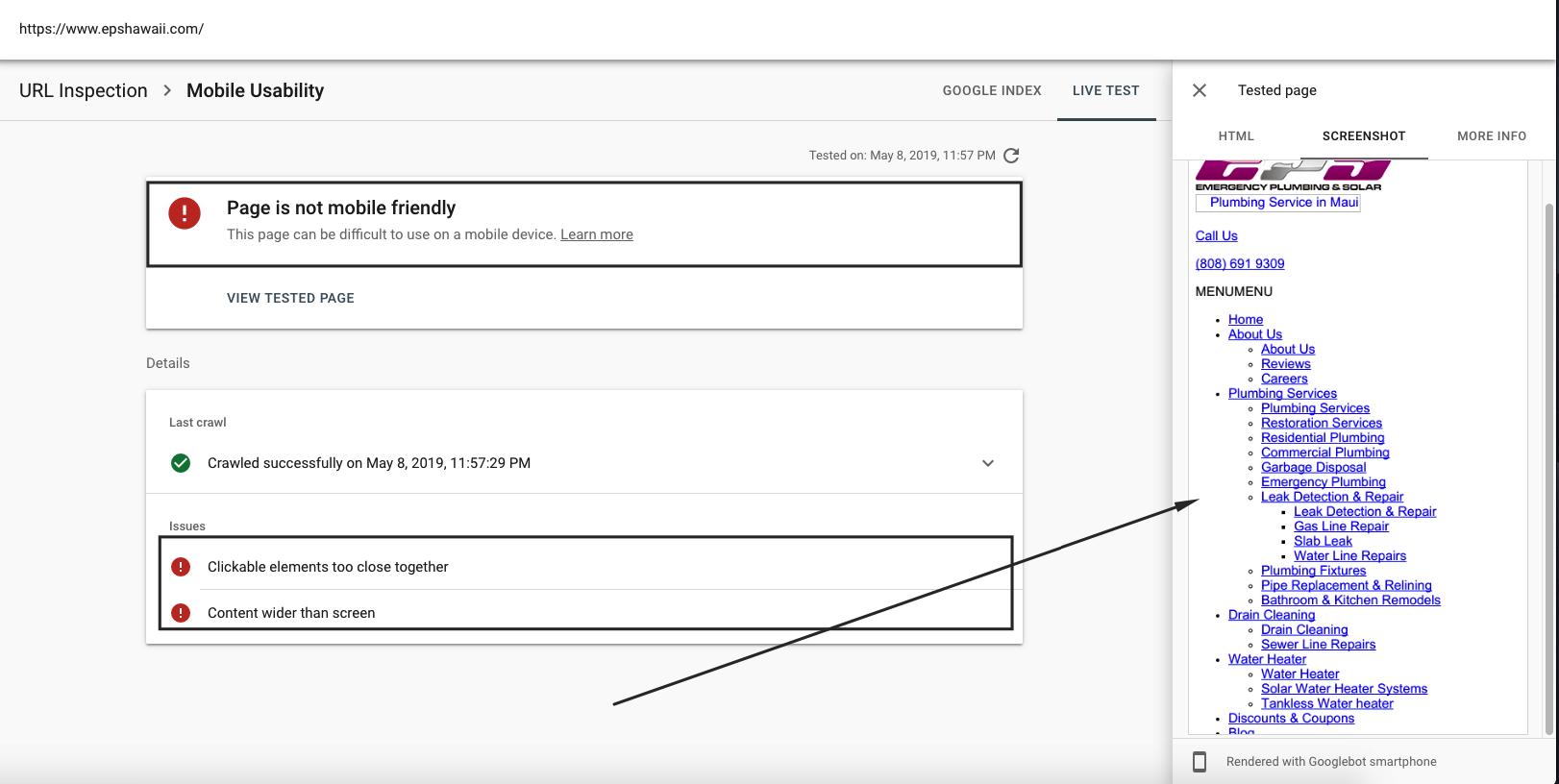 Thông tin chi tiết của kết quả kiểm tra URL