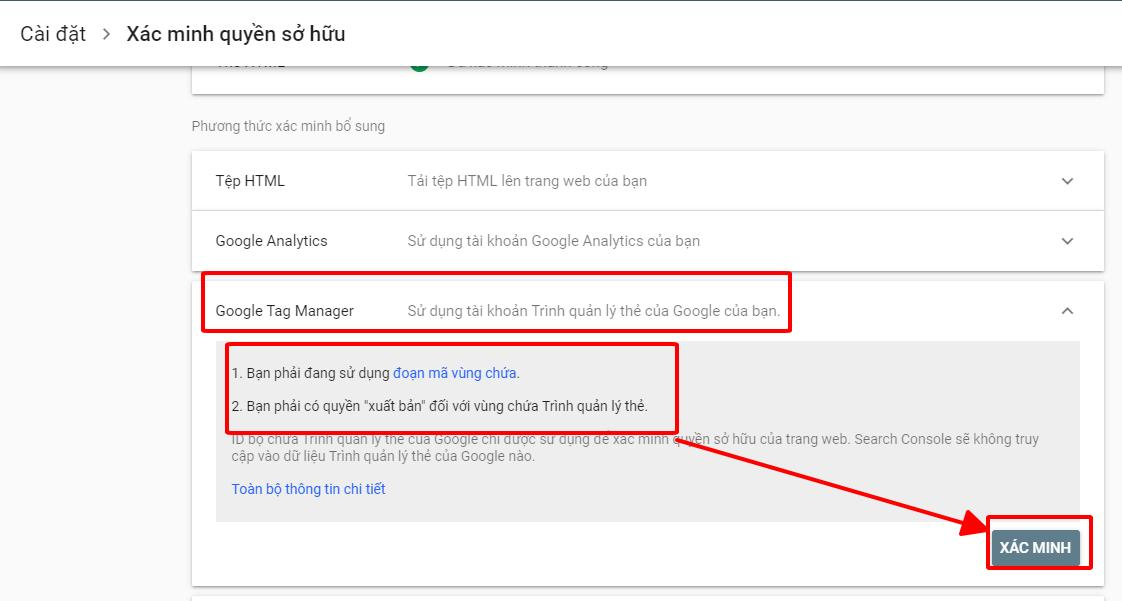 Xác minh GWT (Google Search Console) bằng Google Tag Manager
