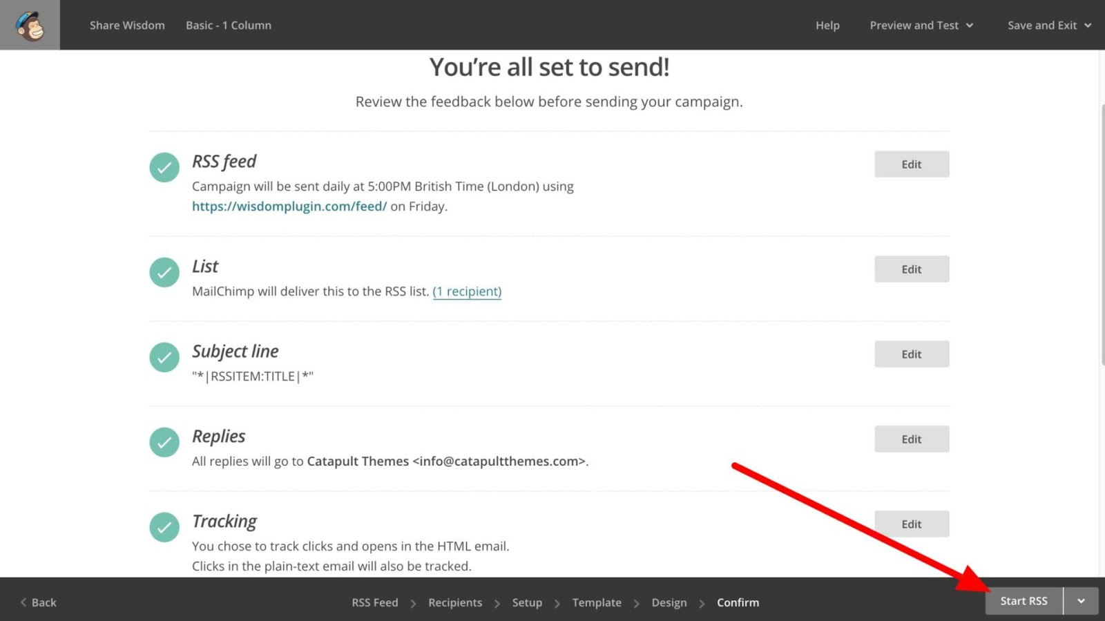 Bắt đầu RSS trong Mailchimp