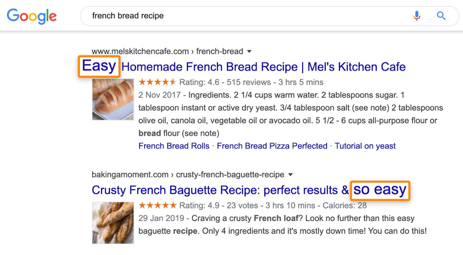 """nhiều trang xếp hạng cho """"công thức bánh mì Pháp"""" công thức dễ dàng là:"""