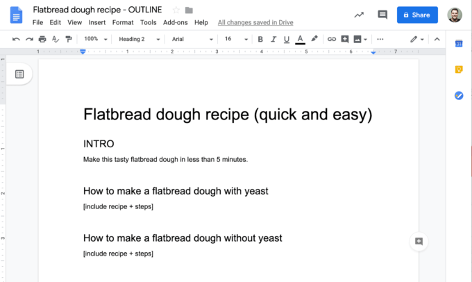 nếu chúng tôi đang viết một công thức nhào bột, chúng tôi có thể muốn đề cập đến tốc độ trong phần giới thiệu và chúng tôi có thể muốn có các phần riêng biệt để tạo ra bánh mì dẹp và không có men.