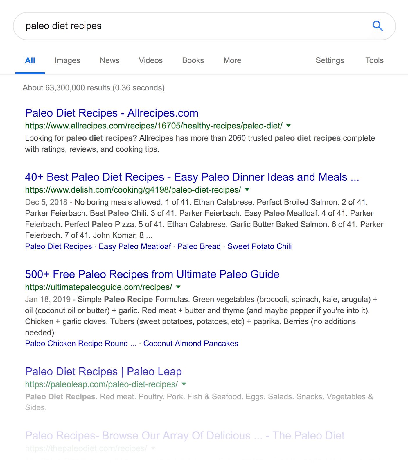 """Top trang 1 - SERPs """"chế độ ăn kiêng"""""""
