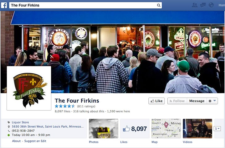 Ảnh bìa của Four Firkins ở Twin Cities  cho thấy một dòng khách hàng nhiệt tình tấp nập kéo dài ra ngoài cửa
