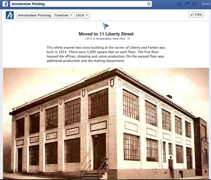 Amsterdam Printing sử dụng dòng thời gian của Facebook để giới thiệu lịch sử công ty