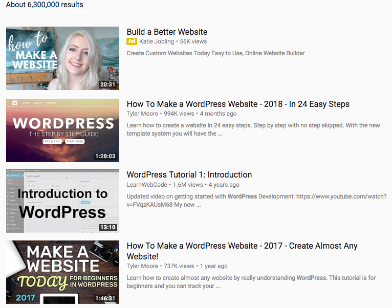 Video WordPress trên YouTube