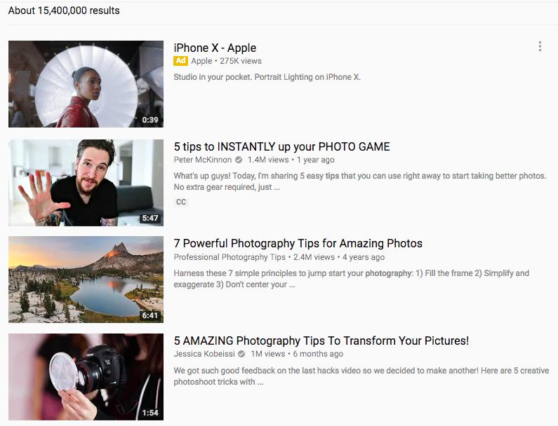 cách seo web hiệu quả - Video chụp ảnh trên YouTube