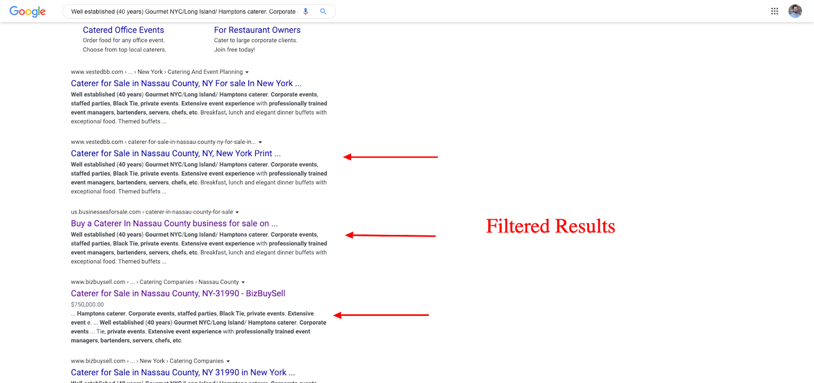Filtered result Not Indexed