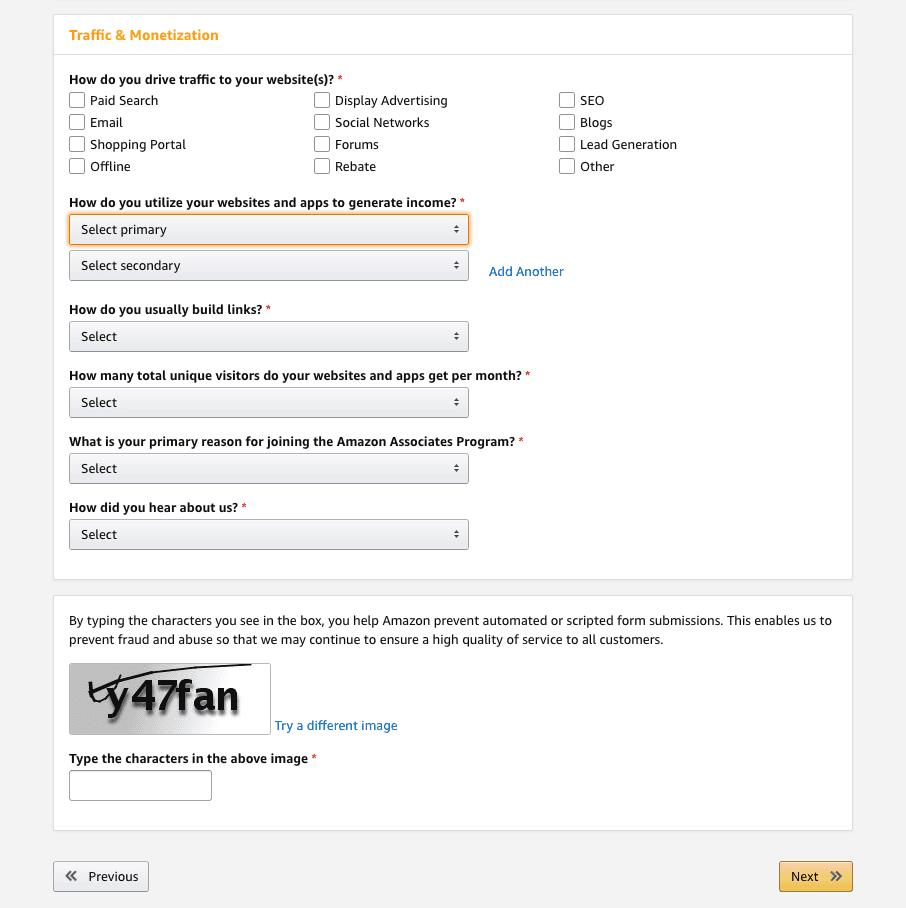 Amazon Affiliate Program sign up Step 4