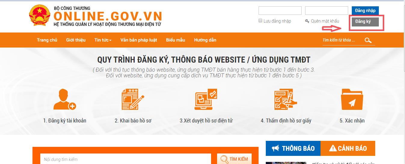 Đăng nhập vào website, click vào nút Đăng ký góc phải trên của màn hình để tiến hành đăng ký thông tin chủ sở hữu website