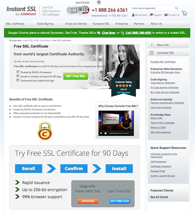Instant SSL nhà cung cấp SLL miễn phí phù hợp trên mọi trình duyệt