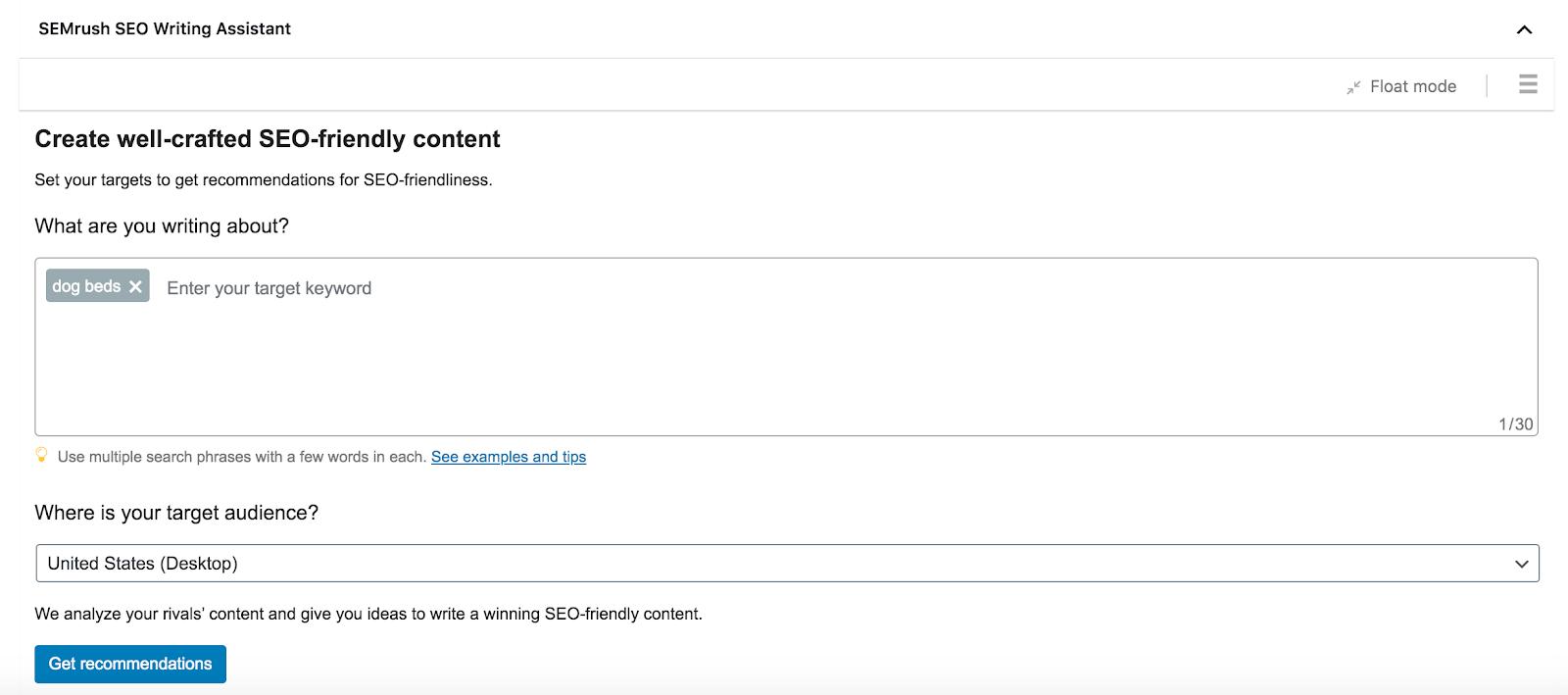 SEMrush: công cụ SEO Writing Assistant