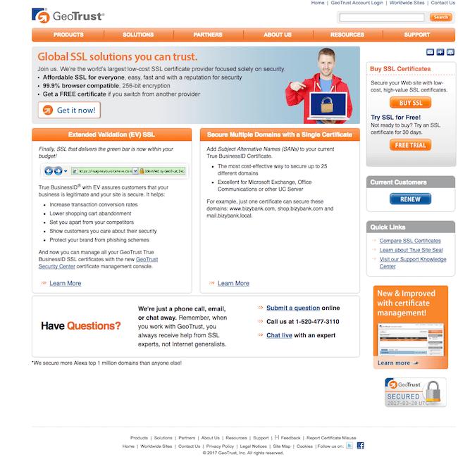 GeoTrust nơi cung cấp SSL miễn phí trong 30 ngày