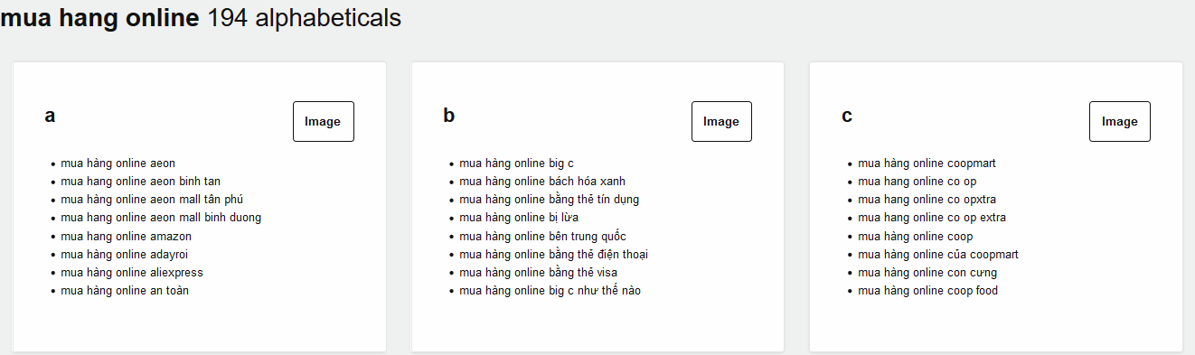 Danh sách các từ khóa được sắp xếp theo bảng chữ của Answer the Public