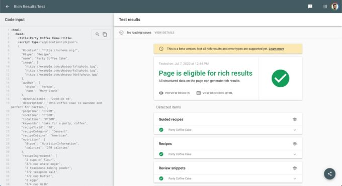 Structured data hợp lệ của Google Rich Result Test