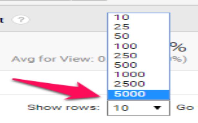 Click Show row để ra tất cả các dòng