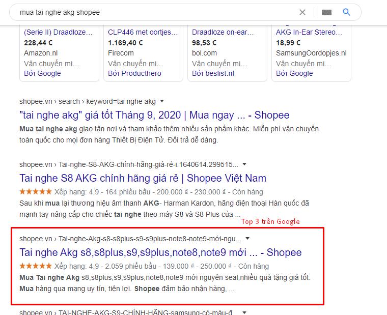 Top 3 trên Google