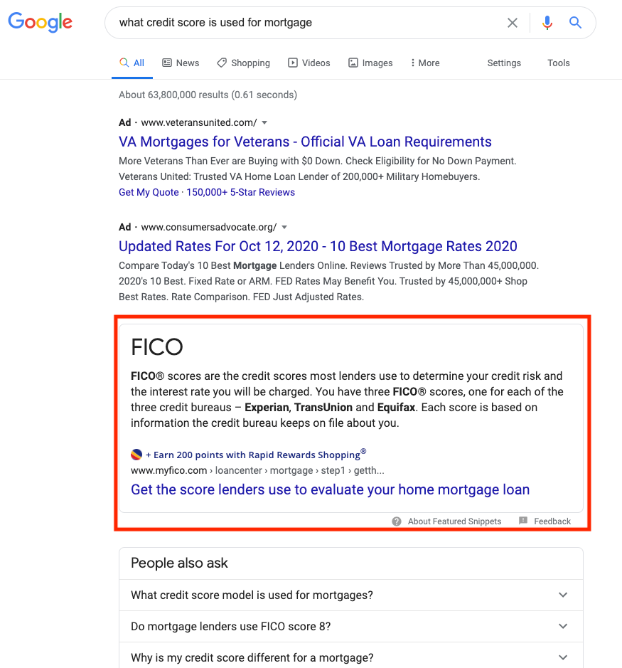 Ví dụ về featured snippets