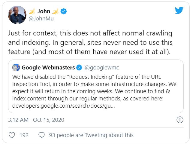 John Mueller khẳng định rằng quá trình crawl và index bình thường vẫn ổn