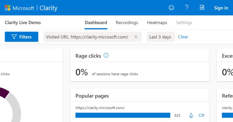 Microsoft ra mắt công cụ phân tích website Clarity mới nhất
