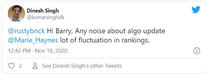 Tweet của @kumarsinghdk về google cập nhật thuật toán 17/11 - 18/11
